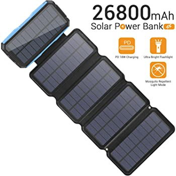 Solar Charger 26800mAh, Portable 5 Solar Panel 7.5W High Efficiency Power Bank with Ultra Bright 60-LED Panel Light and Flashlights, PD 18W Fast Charger External Battery Pack (Blue)