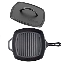 Lodge 10.5 Inch Square Cast Iron Grill Pan with Iron Flat Grill Press