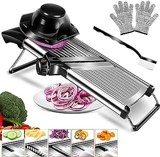 MASTERTOP Mandoline à Légumes Réglable et Multifonctionnelle Coupe-Légumes de Cuisine en Acier Inoxydable pour Couper Les ...