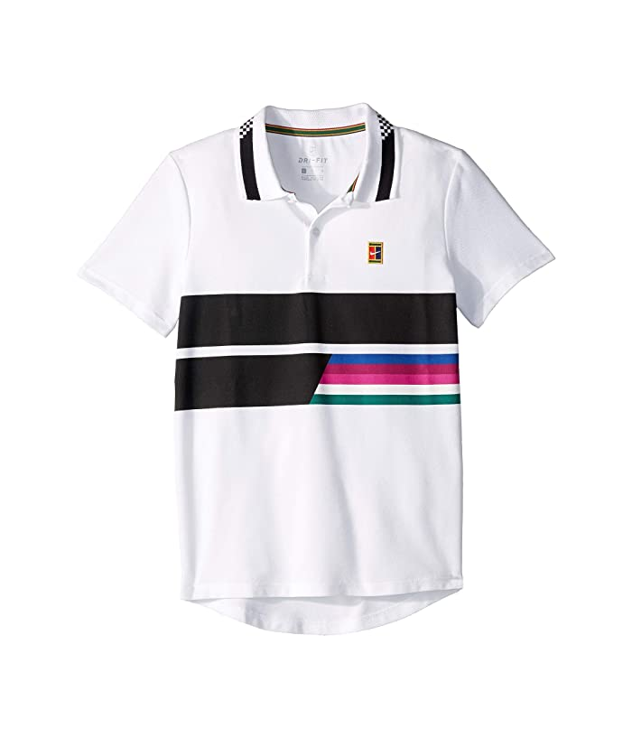 Nike Kids Roger Federer Court Advantage Classic Polo (Little Kids/Big Kids) (White/White/Blue Void/Black) Boy's Clothing