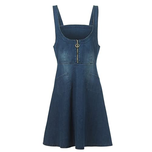 59a8d0f5fb NONOSIZE Women s A-Line Casual Overall Denim Dress With Zip Front and 2  Pockets