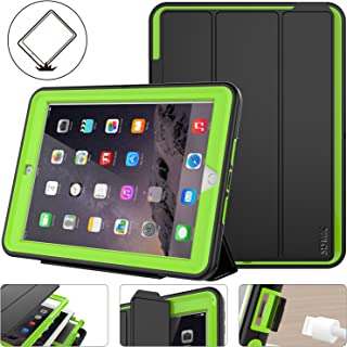 New iPad 2017/2018 Case, Shockpoof Protective 9.7 inch Case Rugged Smart Cover Auto Sleep Wake with Leather Stand Feature for New iPad 5th Generation Model (A1822/ A1823/ A1893/ A1954) (Black/Green)