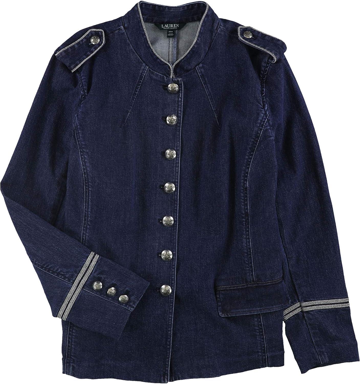 Ralph Lauren Womens Denim Military Jacket, Blue, 18W