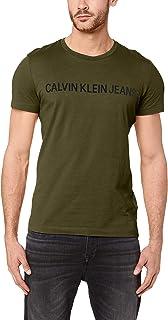 Calvin Klein Jeans Men's Institutional Logo Slim Fit T-Shirt, Grape/BLK, S