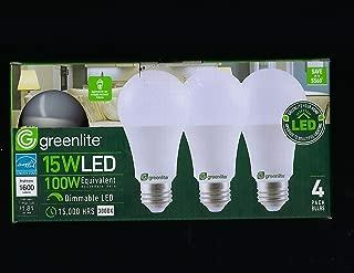 greenlite 15 Watt LED 100 Watt Dimmable LED 15,000 Hours 4 Pack 16000 Lumens