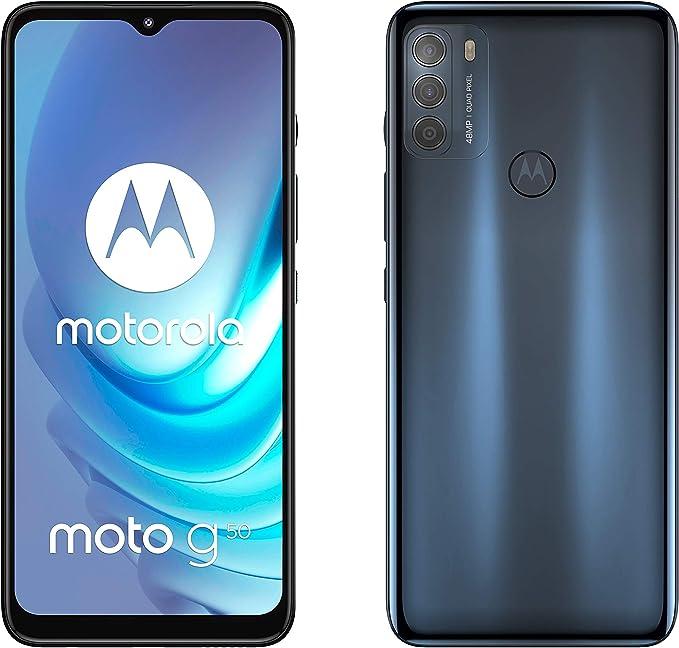 Motorola Smartphones moto g50 (6.5 Inch Max Vision HD+, Qualcomm Snapdragon 480 2.0 GHz octa-core, 48 MP Triple Camera, 5000 mAH Battery, Dual SIM, 4/64 GB, Android 11), Steel Grey
