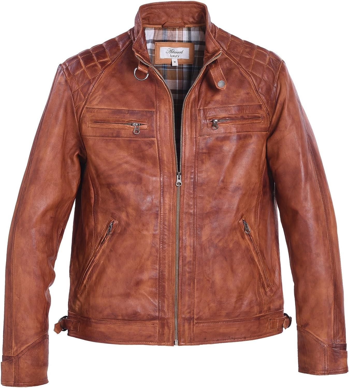 LAMBLAND Mens/Gents Full Leather Centre Zip Jacket Quilt Design Shoulders in Tan