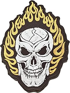 Fire Embroidered Patch Skull Biker Iron Skeleton Motorcycle Motorsport Flame Chopper Devil New Flaming Smile Hippie Hot Re...