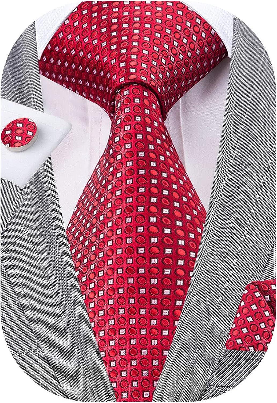 YOHOWA Men Plaid/Striped Ties Set Silk Business Wedding Formal Fashion Necktie and Pocket Square Cufflinks Set