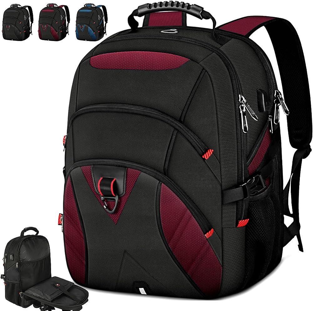 Ktmouw, zaino da uomo, porta pc 18,4 pollici, con porta usb, impermeabile, multifunzionale per laptop, ROSSO-NERO