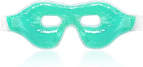 Gel Cooling Eye Mask,Ice Cold Compress for Puffy Eyes,Dry Eyes and Dark Circles, Gel Bead (Green),100% Fit Skin