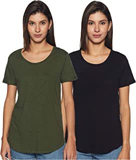 Amazon Brand - Symbol Women's Striped Loose Fit Half Sleeve Cotton T-Shirt (Combo Pack of 2)