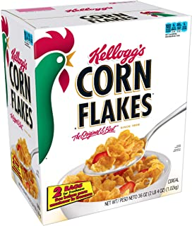 Kellogg's Corn Flakes, Breakfast Cereal, Fat-Free, Bulk Size, 216 oz (Pack of 6, 36 oz Boxes)