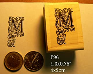 P96 Decorative Letter M Rubber Stamp
