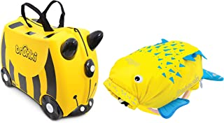 Trunki Original Kids Ride-On Suitcase and Carry-On Luggage with PaddlePak Water-Resistant Backpack Bundle, Yellow