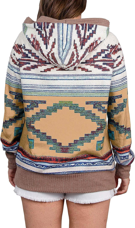 ELF QUEEN Women's Hoodie Sweatshirt with Pockets Aztec Print Graphic Lightweight Long Sleeve Pullover Tops