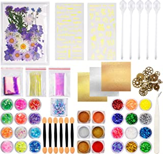 Suhome Resin Jewelry Making Supplies Kit - Resin Decoration Art Kit with Resin Glitter, Dried Flowers, Mylar Flakes, Resin...