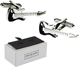 Mens plata Plectrum Gemelos /& Caja De Regalo-guitarrista regalos por Onyx Art