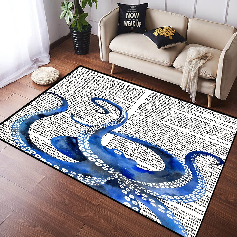 ZOMOY Long Floor Mat A Blue Retro Mesa Mall overseas on Newsp Octopus Print Russian
