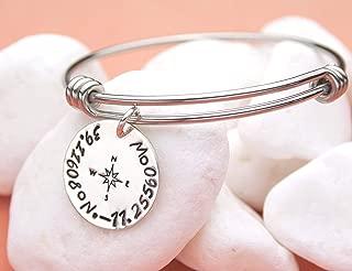 Personalized Coordinates Bangle Charm Bracelet, GPS Latitude Longitude Jewelry