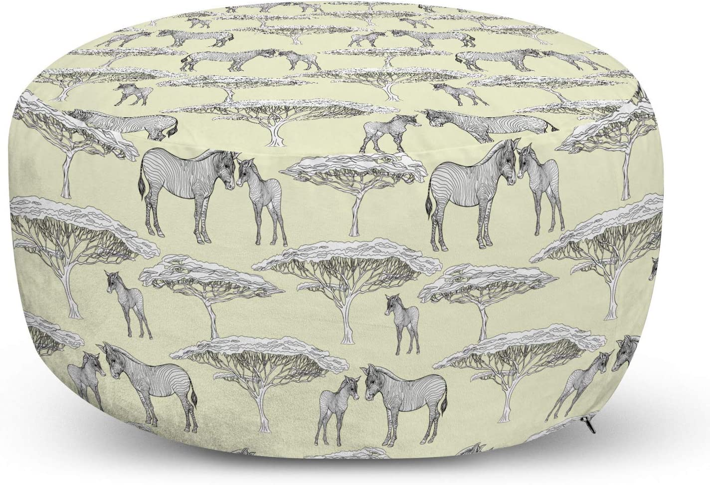 Ambesonne Safari low-pricing Large special price Ottoman Pouf African Nature and A Illustration