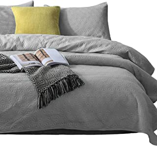 KASENTEX Quilted Coverlet Set - Pre Washed - Luxury Microfiber Soft Warm Bedding - Solid Colors Bedspread - Contemporary Star Design, Twin + 1 Sham, Flint Grey