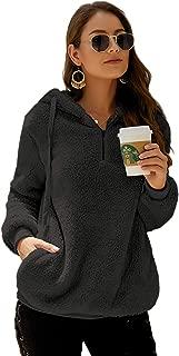 Womens Long Sleeve Half Zip Fuzzy Fleece Pullover Jacket Outwear Sweatshirt Tops Coat with Pocket
