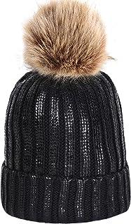 Jugofar Women Winter Pom Pom Knit Hats Metallic Shiny Party Thick Slouchy Beanie Skull Caps