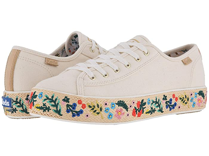 Retro Vintage Flats and Low Heel Shoes Keds x Rifle Paper Co. Triple Kick Embroidered Jute Natural Womens Shoes $56.00 AT vintagedancer.com
