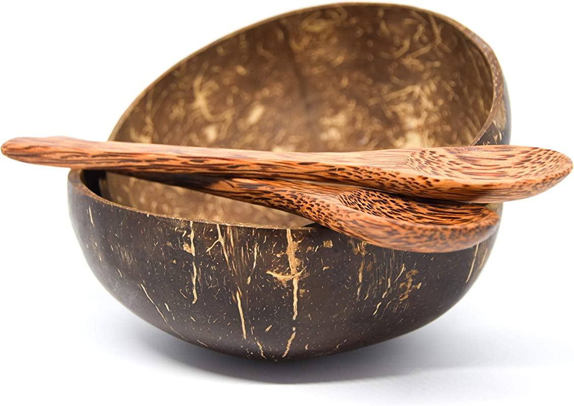100 Natural Coconut Bowls And Coconut Spoons Set Of 2 Bowls And 2 Spoons Durable Handmade Serving Bowls Made From Coconut Shells Eco Friendly And Organic Vegan Reusable By CalmOn