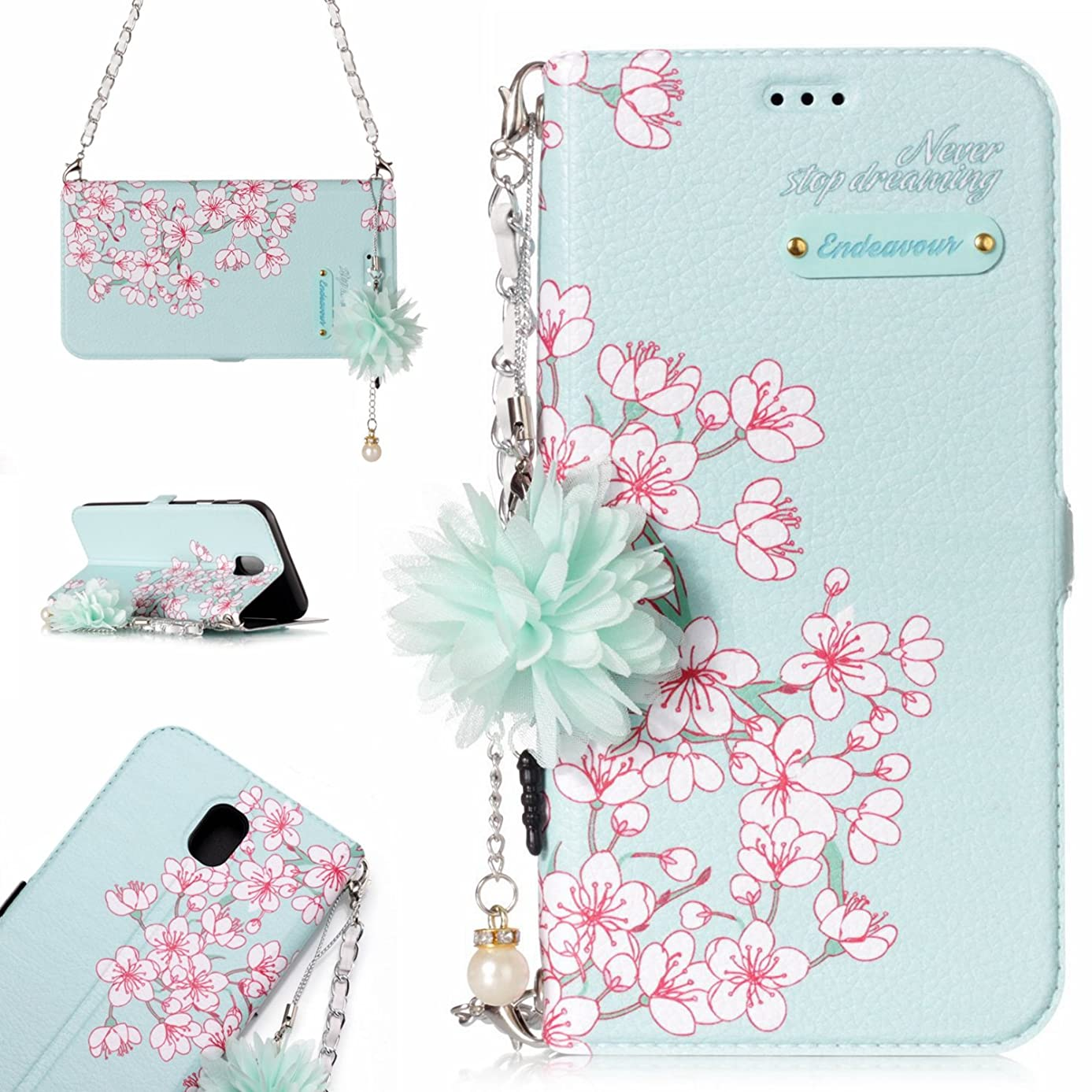 Galaxy J7 2017 Case, Stingna Fashion painting Flower Leather Wallet Cover case Women Handbag Flip Card Holder with Pendant Metal Chain for Samsung Galaxy J7 (2017)/J7V 2017/J7 Prime (F)