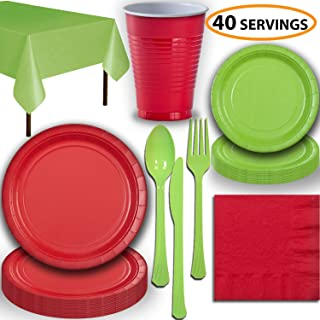 Disposable Party Supplies, Serves 40 - Red and Lime Green - Large and Small Paper Plates, 12 oz Plastic Cups, Heavyweight Cutlery, Napkins, and Tablecloths. Full Two-Tone Tableware Set