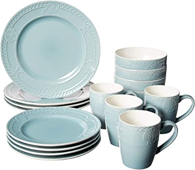 Pfaltzgraff Antigua 16 Piece Dinnerware Set (Set of 4), Blue