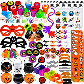 Supla 126 Pcs Halloween Toys Novelty Trinkets Assortment Halloween Prizes Bulk Party Favors Treats Stamps for Kids School Classroom Rewards Trick or Treating Halloween Miniatures Goodie Bags