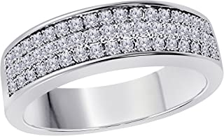 6MM 14K White Gold Plated 1/2 Ct White CZ Diamond Ring Three Row Pave Half Eternity Mens Wedding Band