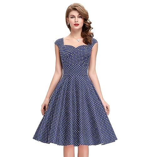 6e69be729922b Belle Poque 50s Style Vintage Dresses Sweetheart Neck BP105 (Multi-Colored)