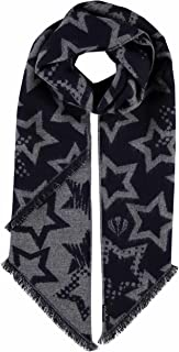 Woven Womens Scarf with Unique Star Design & Fashionable Bias-Cut Fringes