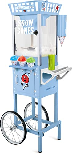 Nostalgia 54-Inch Tall Snow Cone Cart, Metal Scoop Makes 72 Icy Treats, Includes 2 Syrup Bottles, 100 Paper Cups/Spoo...