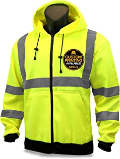 KwikSafety (Charlotte, NC) PATROL | Class 3 Fleece Hoodie Premium (No Fuzz Balls or Lint) Durable Zipper Construction Work Wear Hi Vis Reflective ANSI Compliant OSHA Approved Safety Jacket | XL