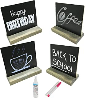 4 Pcs Mini Tabletop Chalkboard,Message Board Sign w/Antique-Style Wooden Base Stands,5 X 6 inch (Brown)