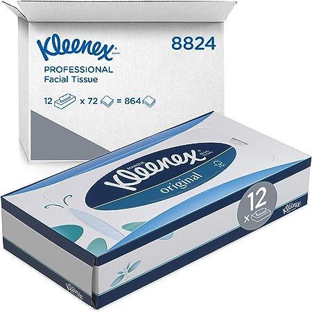 Kleenex 8824 Boîtes de mouchoirs, 12 paquets de 72 formats, 3 épaisseurs, Doux et résistant, Sans parfum, Couleur : Blanc, Original, 08824000