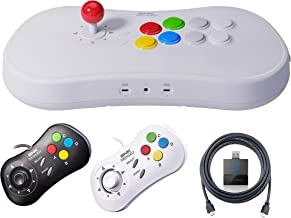 Neogeo Arcade Stick Pro Player Pack - HDMI, 1 White Gamepad, 1 Black Gamepad and Gamelinq (PS3, PS4, Switch Connectivity) Included - Neo Geo Pocket
