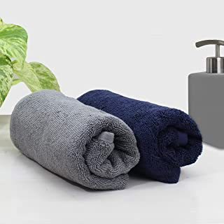 Auximpro® Bamboo Hand Towel for Sports & Gym, Super Absorbent & Soft, Antibacterial, 600 GSM, 25 x 15 inch, (Set of 2 - Bl...