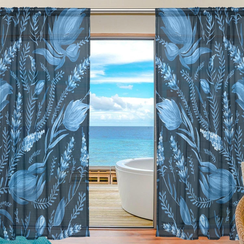 Vantaso Sheer Curtains 78 inch Dark Navy bluee Fantasy Flowers Leaves for Kids Girls Bedroom Living Room Window Decorative 2 Panels