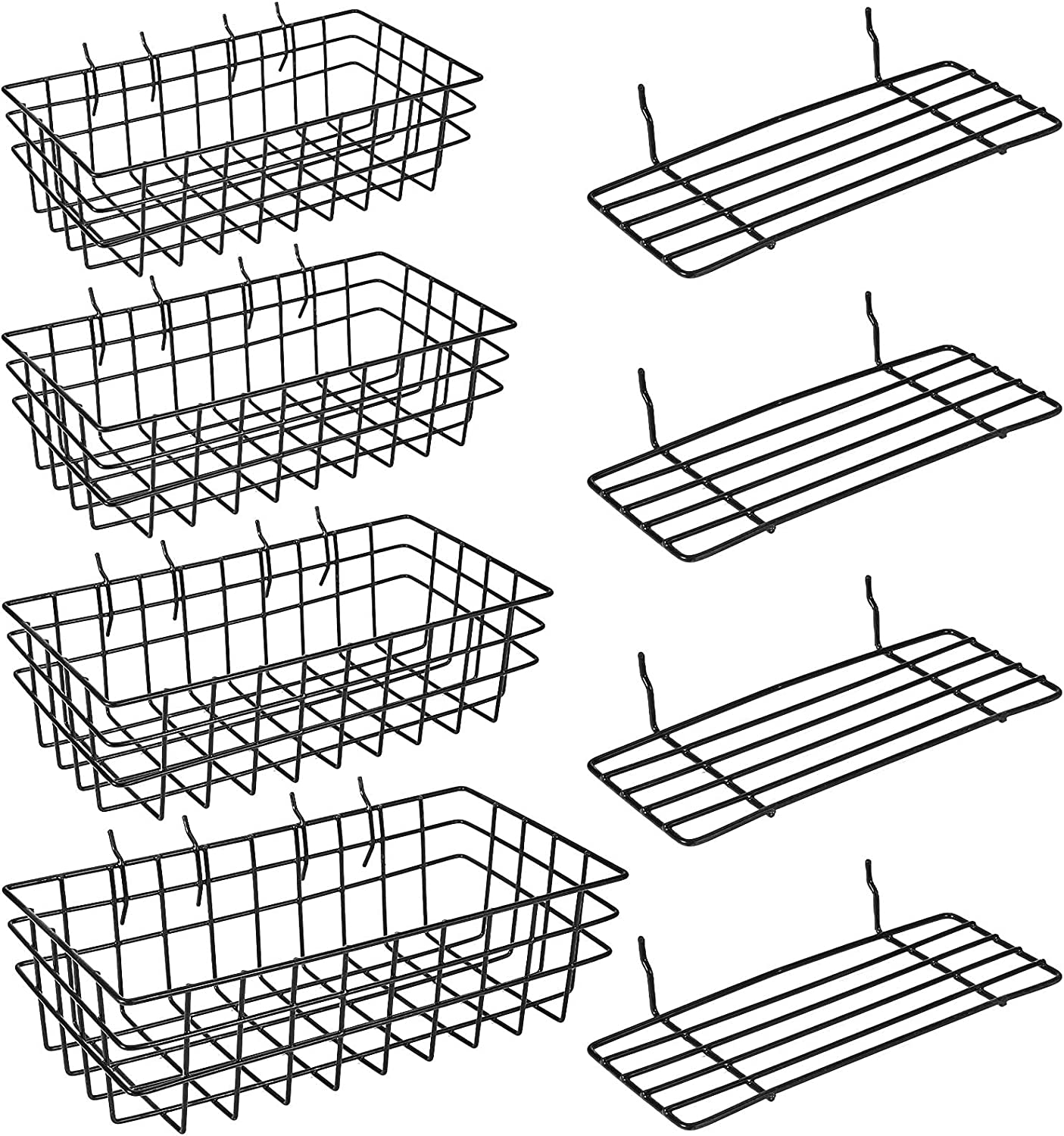 8 Pieces Pegboard Baskets Peg Board Racks Square Style Wire Shel