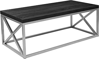 Flash Furniture Park Ridge Black Coffee Table with Silver Finish Frame