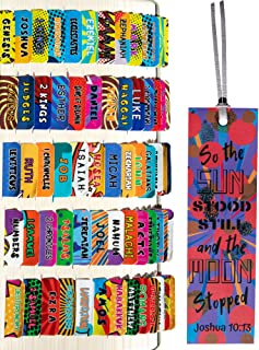 Comic Theme Laminated Bible Tabs (Large Print, Easy to Read), Personalized Bible Journaling Supplies, 120 Bible Index Tabs...