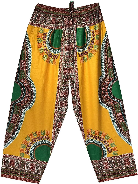 Decoraapparel Womens Dashiki Print Elastic Waist Cotton Casual African Pants 100% Organic Cotton