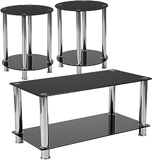 Flash Furniture Riverside 3 Piece Glass Top Coffee Table Set in Black