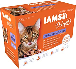 Iams Delights Land and Sea Collection in Gravy Cat Food 12 x 85g (1.02kg)
